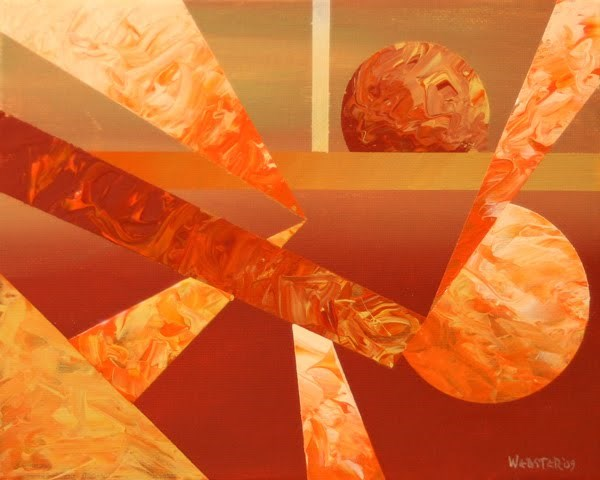 """Mark Adam Webster - Abstract Orange Sunset Cityscape Acrylic Painting"" original fine art by Mark Webster"