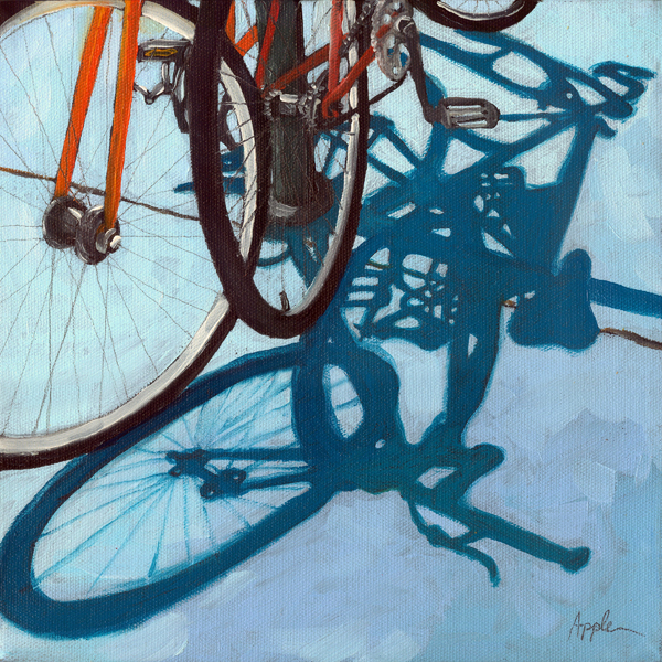 """Together - bicycle art oil painting"" original fine art by Linda Apple"