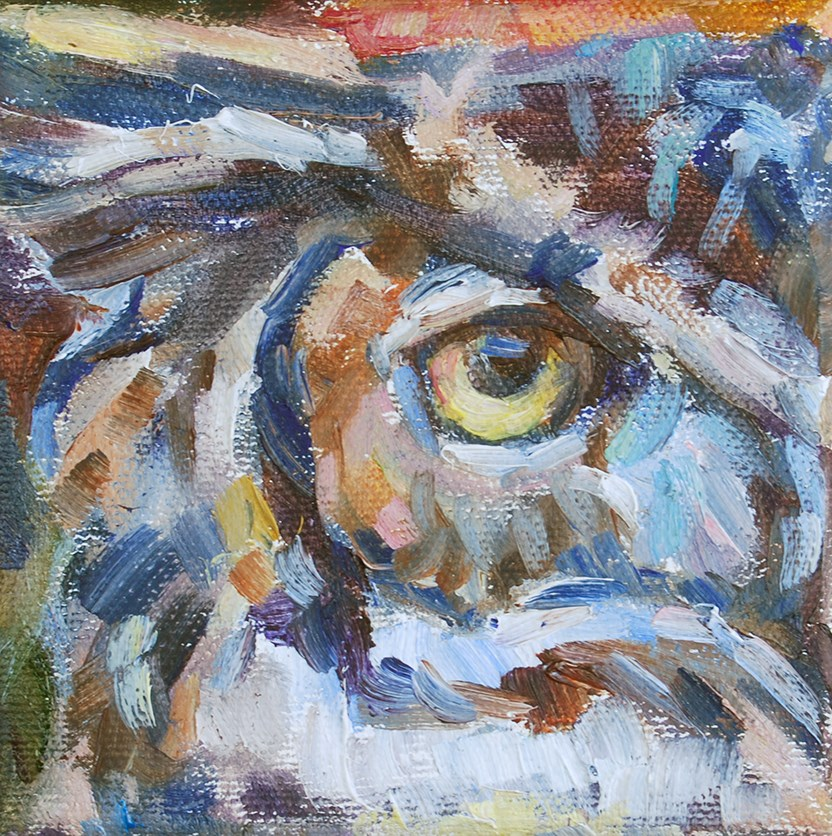 """I Have my Eye on You - Owl"" original fine art by Carol DeMumbrum"
