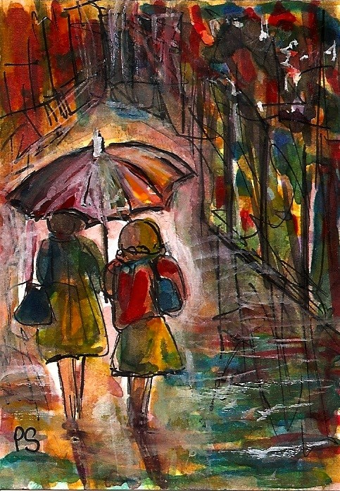 """ACEO Walking in The Rain Umbrella Watercolor Illustration Painting Penny StewArt"" original fine art by Penny Lee StewArt"