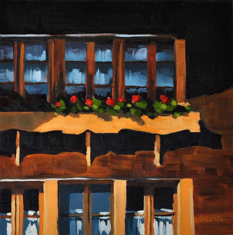 Swiss Window II - 6x6 original fine art by Sharon Schock
