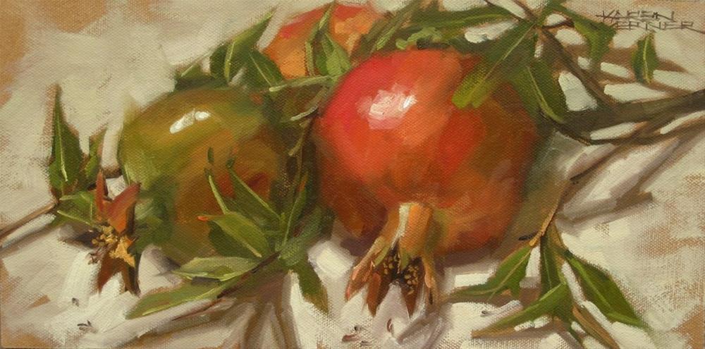 """""""Three Pomegranates"""" original fine art by Karen Werner"""