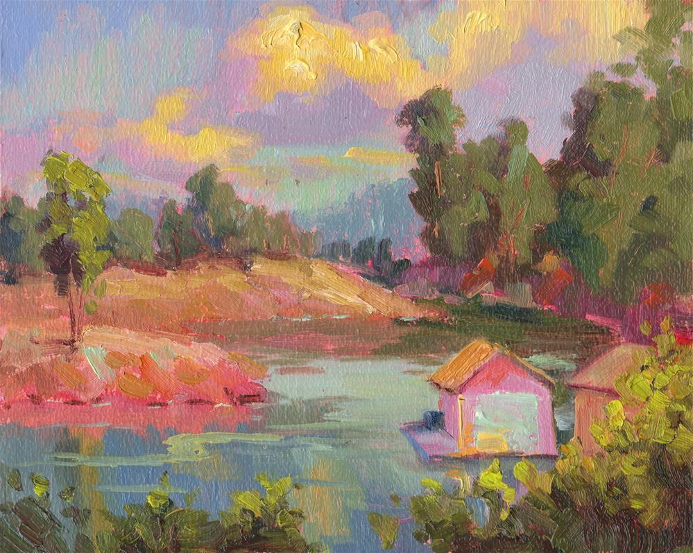 """BOAT HOUSE IN THE COVE"" original fine art by Karen E Lewis"