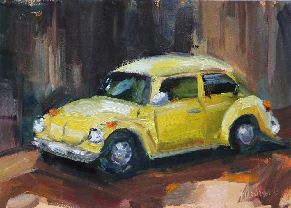 """yellow car"" original fine art by Miranda Dalessi"
