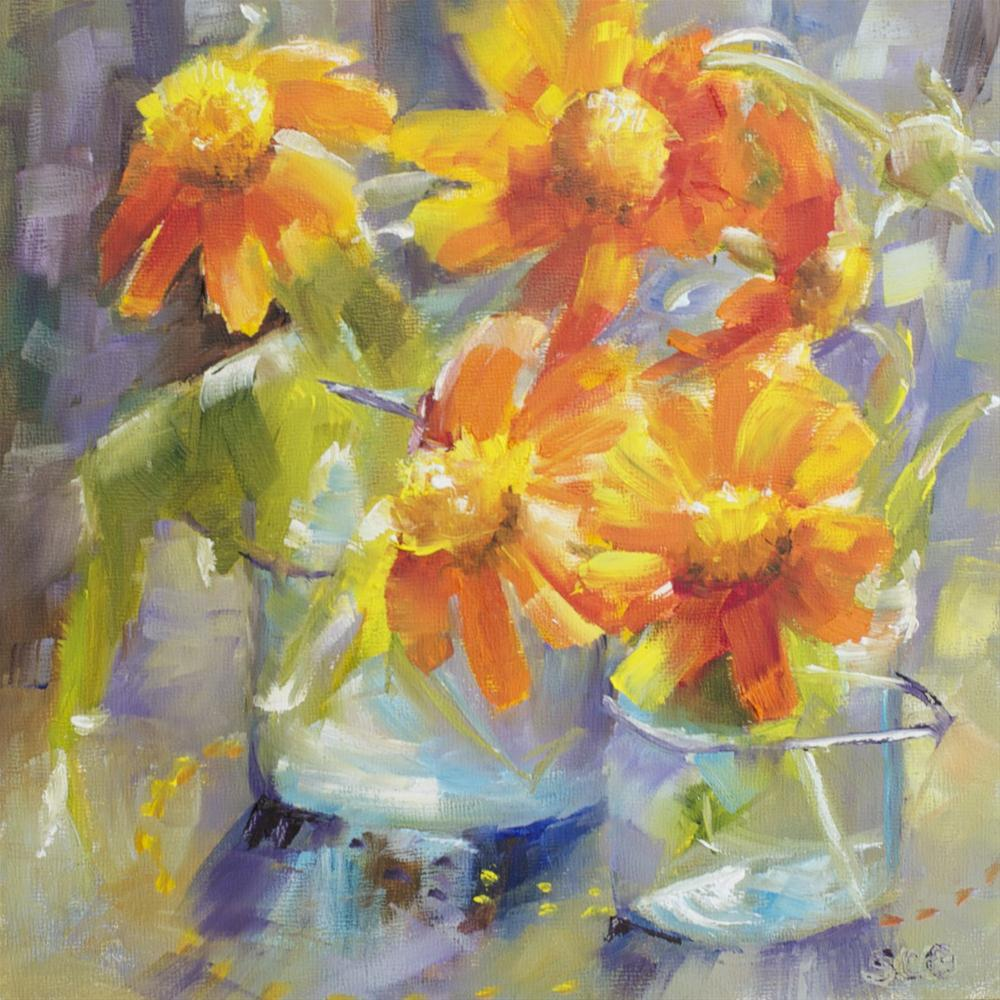 """Mexican Sunflowers"" original fine art by Sue Churchgrant"