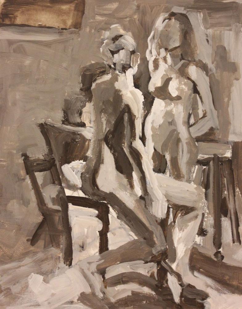 """Figurative sketch in acrylic"" original fine art by Christine Parker"