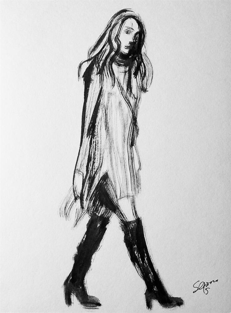 """Walking girl"" original fine art by Elena Senina"