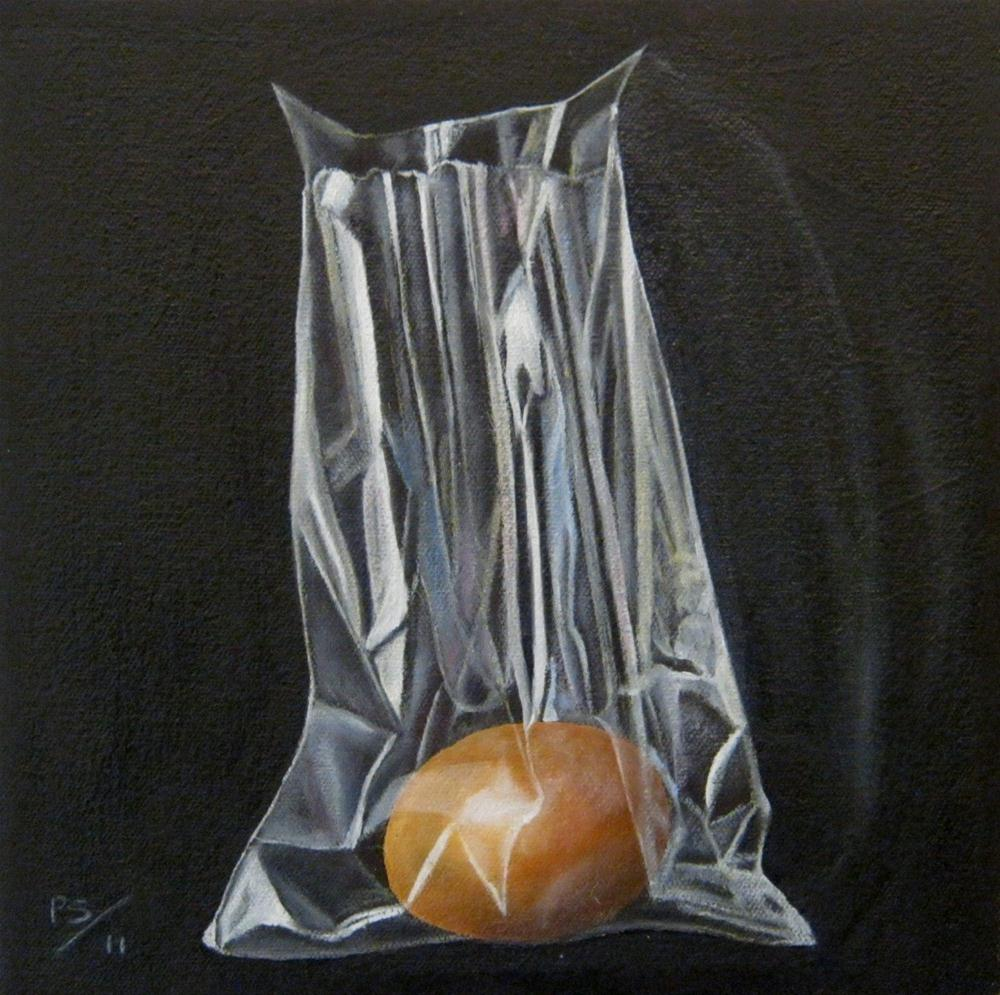 """Egg in Plastic bag II"" original fine art by Pera Schillings"