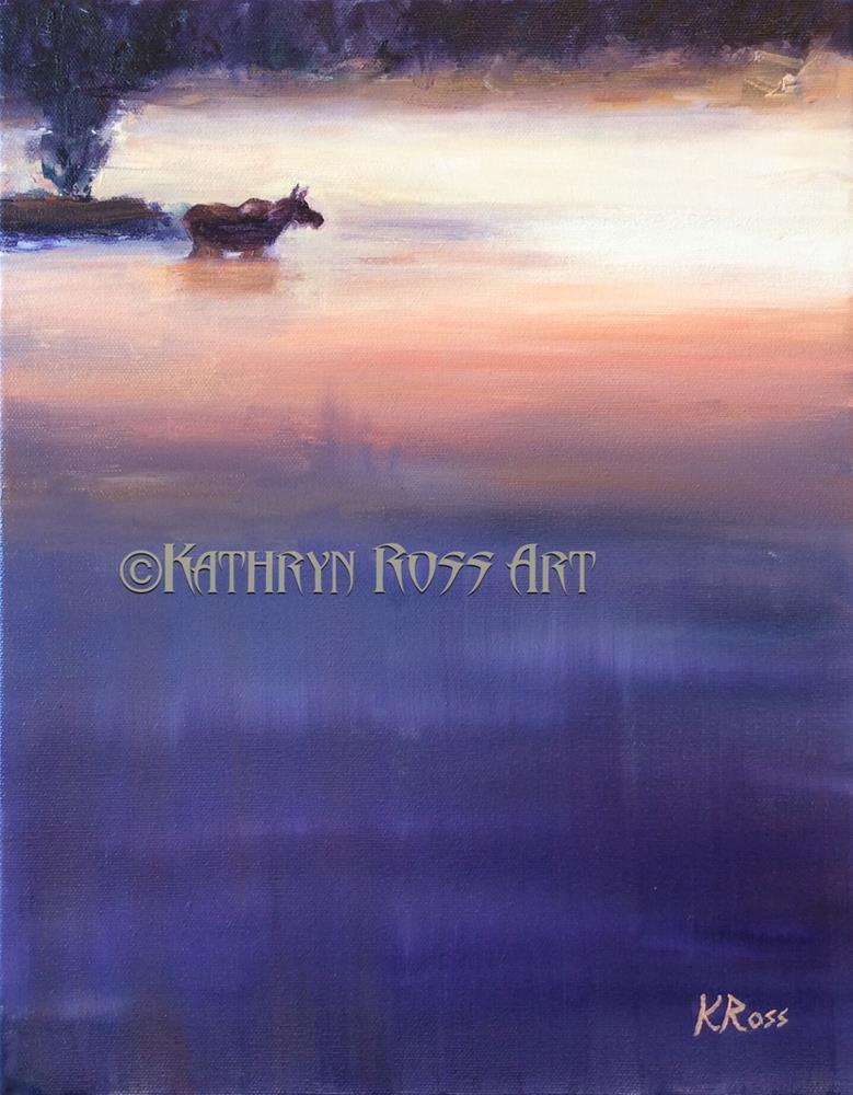 """Wading Moose"" original fine art by Kathryn Ross"