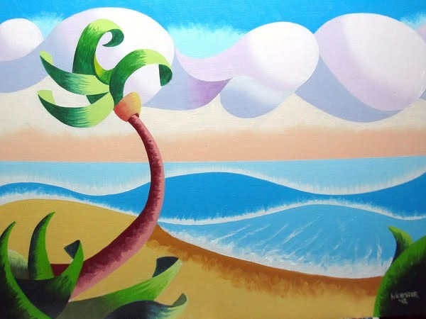 """Mark Webster - Abstract Geometric Landscape Ocean Oil Painting"" original fine art by Mark Webster"