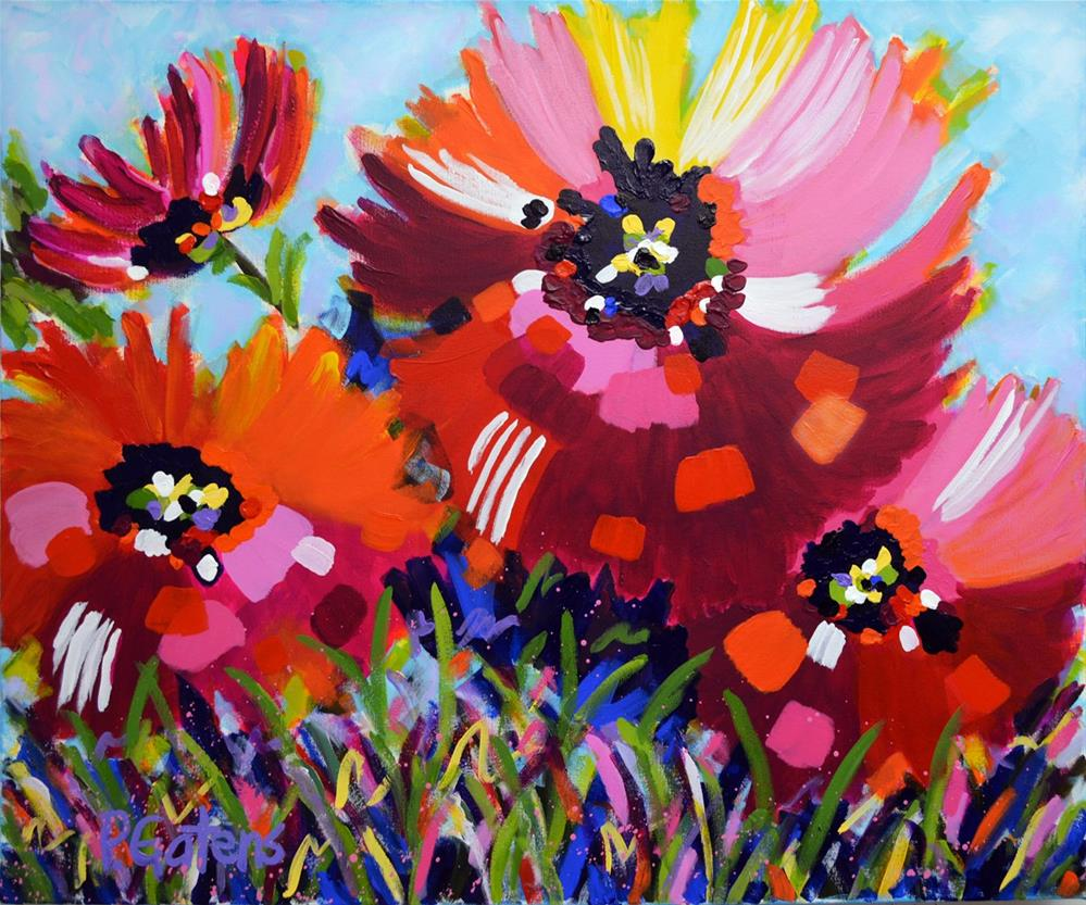 """Red Poppy Party"" original fine art by Pamela Gatens"