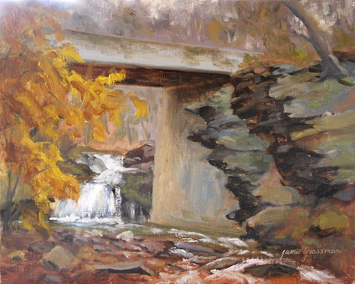 """Under the Bridge --- waterfall painting"" original fine art by Jamie Williams Grossman"