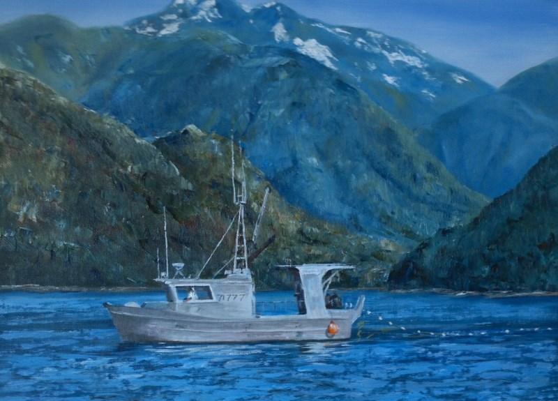"""Gill Netter"" original fine art by Christine Lewis"