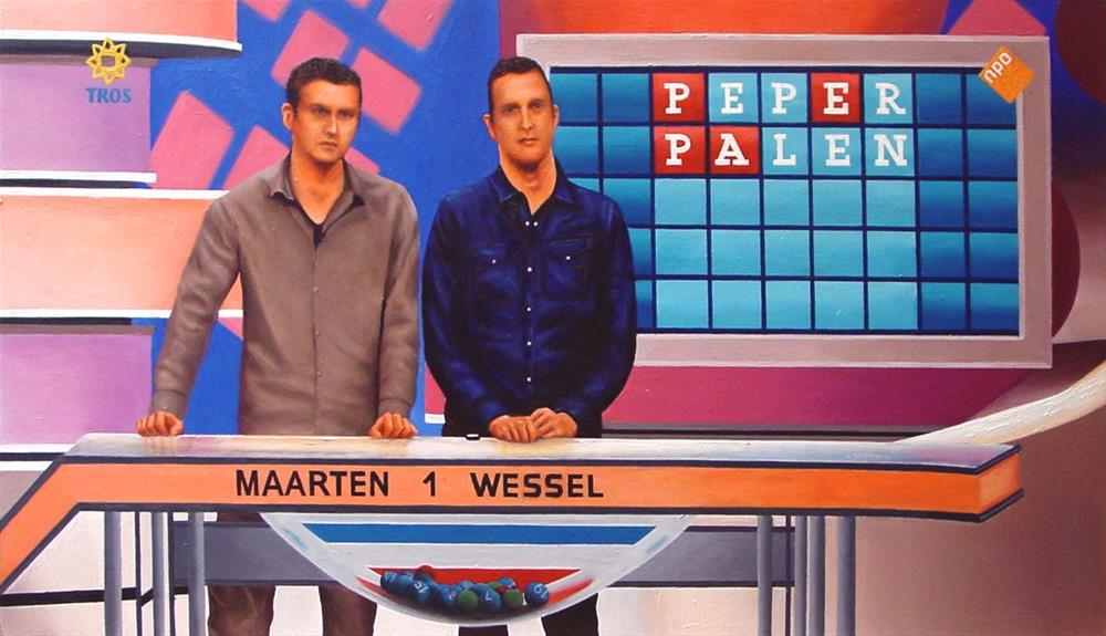 """Gameshow- Two Candidates Playing Lingo On Television"" original fine art by Gerard Boersma"