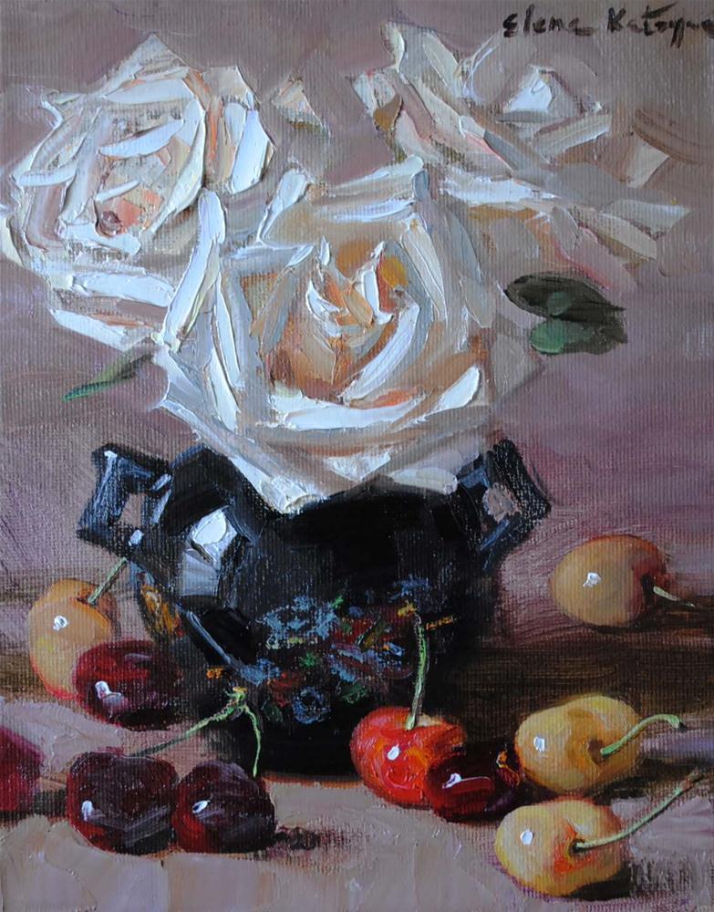 """""""Roses and Cherries"""" original fine art by Elena Katsyura"""