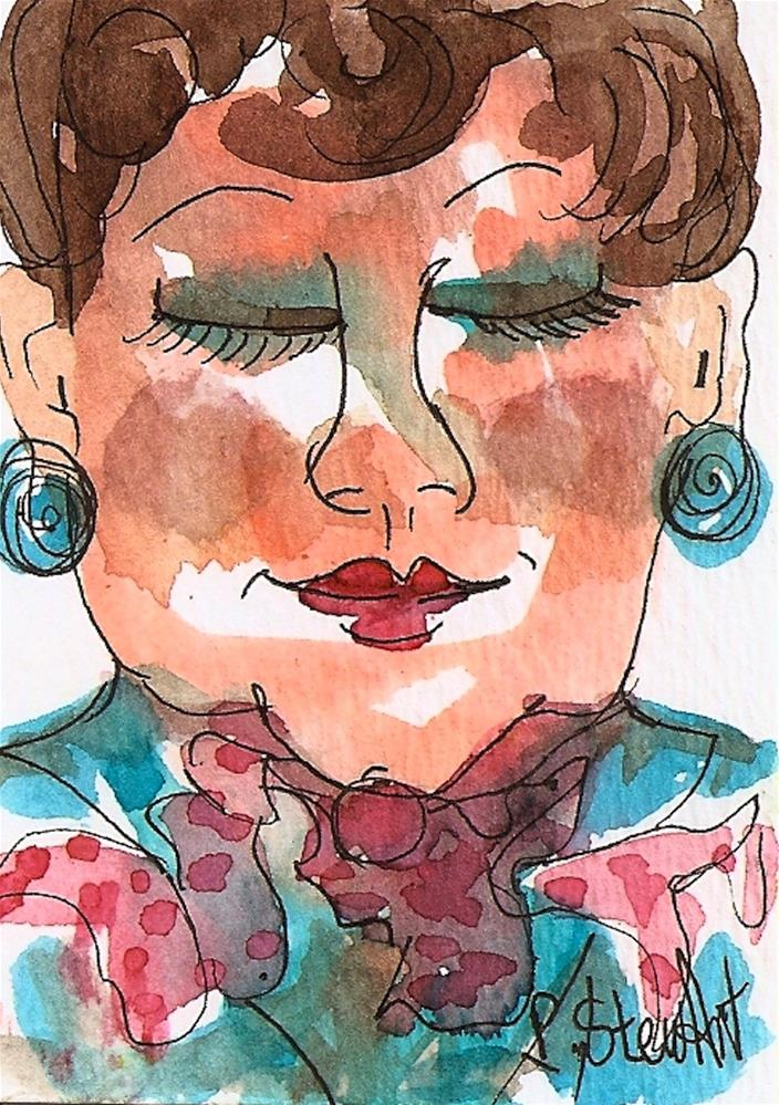 """""""ACEO Life is Good! Watercolor and Pen, Illustration Portrait of Older Woman"""" original fine art by Penny Lee StewArt"""