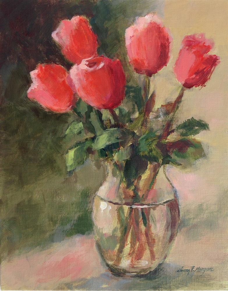 """Rainy Day Roses"" original fine art by Nancy F. Morgan"