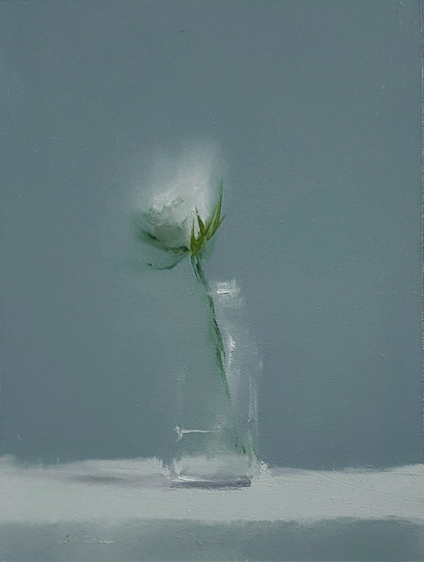 """White Flower"" original fine art by Neil Carroll"