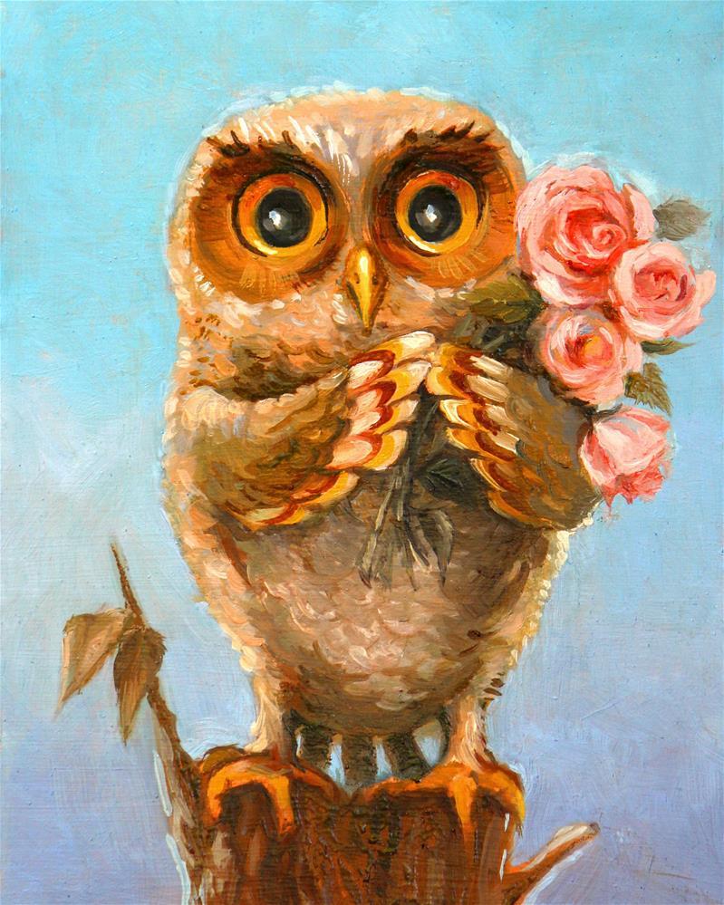 """Owl Greetings"" original fine art by Neringa Maxwell"