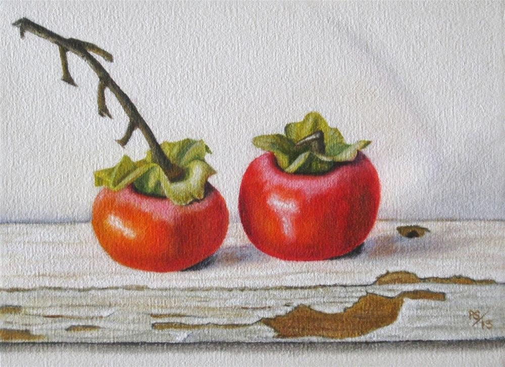 """Two Persimmons"" original fine art by Pera Schillings"