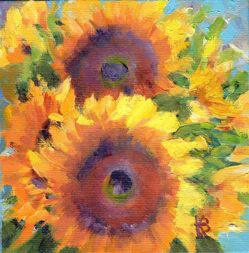 """Sunflowers"" original fine art by Kathy Bodamer"