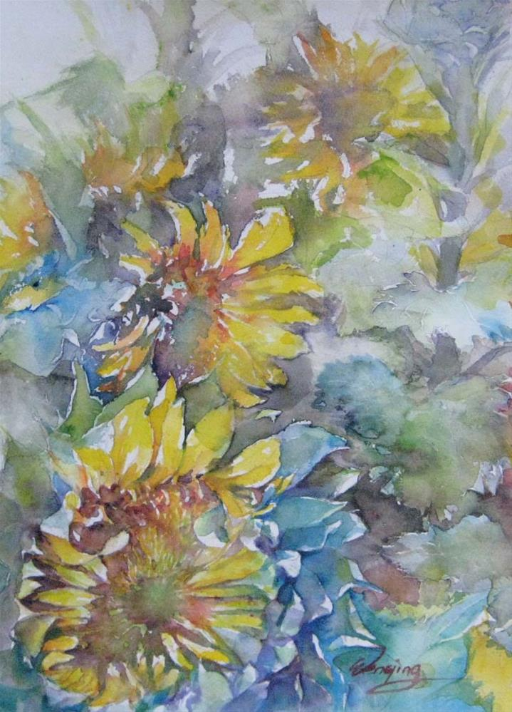 """SUNFLOWER 20150707"" original fine art by Wenqing Xu"
