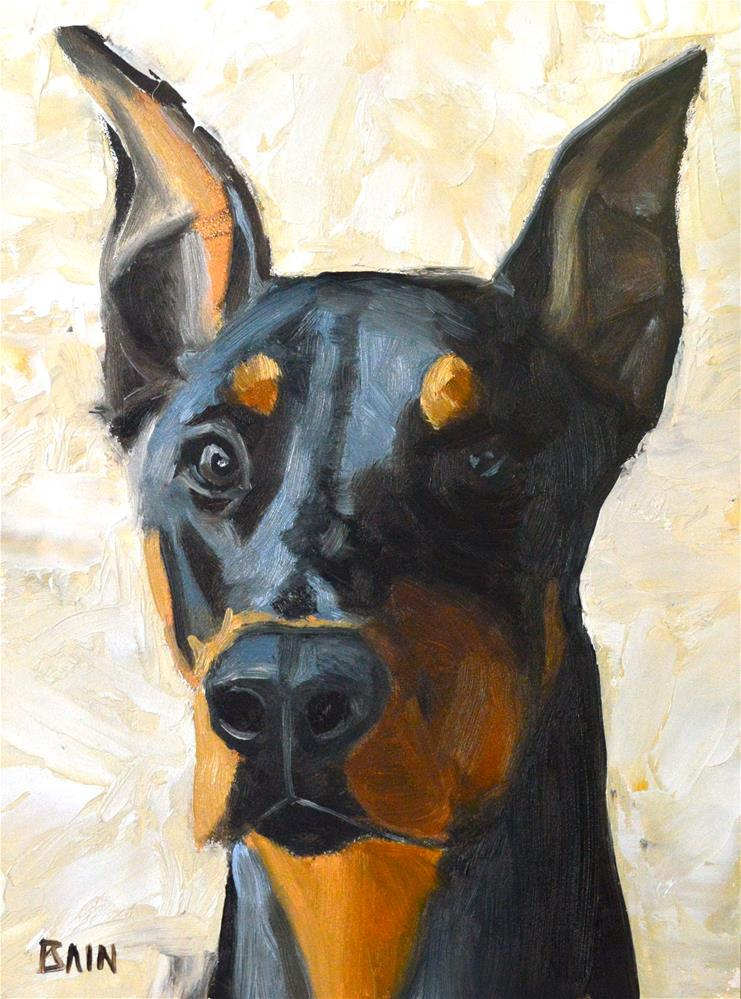 """Doberman"" original fine art by Peter Bain"