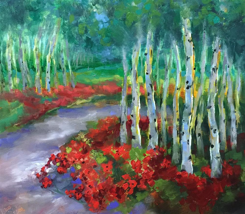 """Journey to Spring Aspens and Poppies - Nancy Medina Videos and Classes"" original fine art by Nancy Medina"