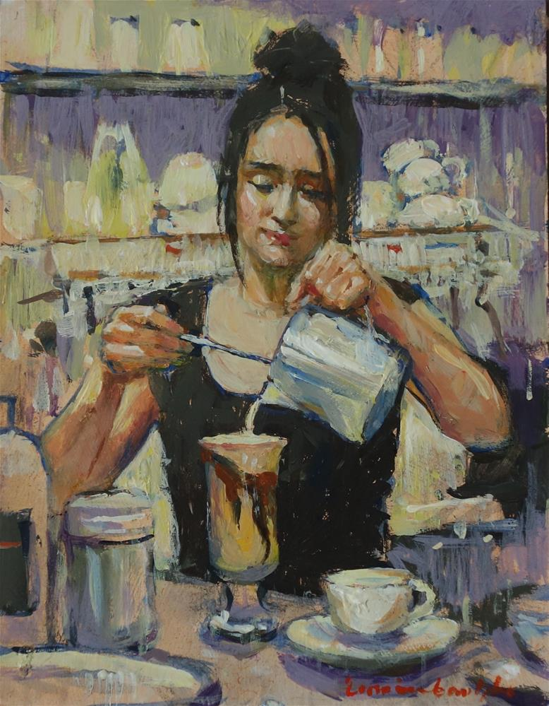 """moccacino"" original fine art by Lorraine Lewitzka"