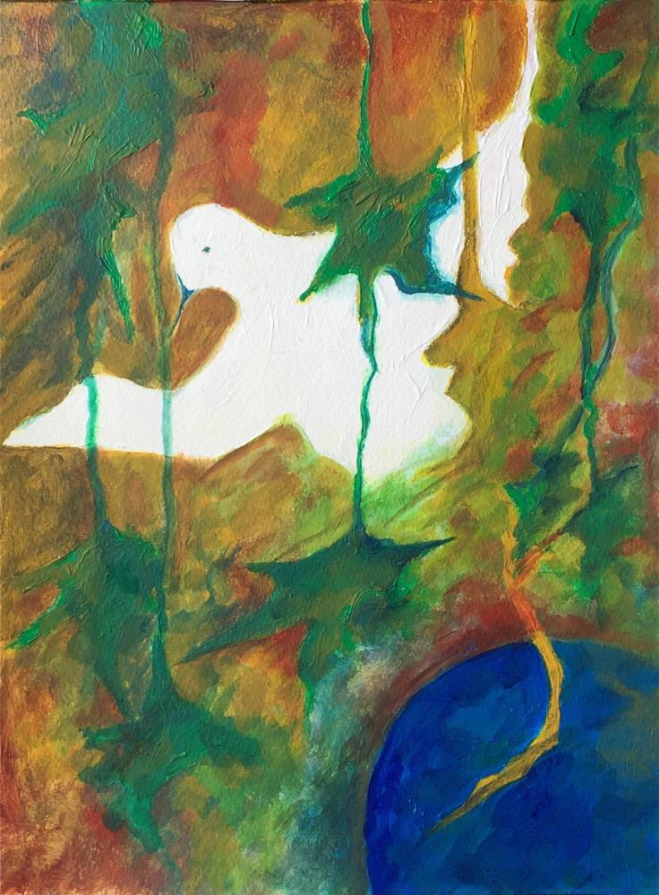 """Bird in leaves"" original fine art by Monica Pinotti"