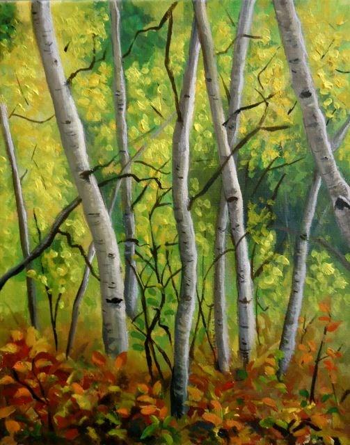 """Yukon Aspens "" original fine art by Jackie Irvine"