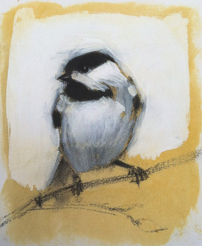 """Chicadee"" original fine art by Candace Brancik"