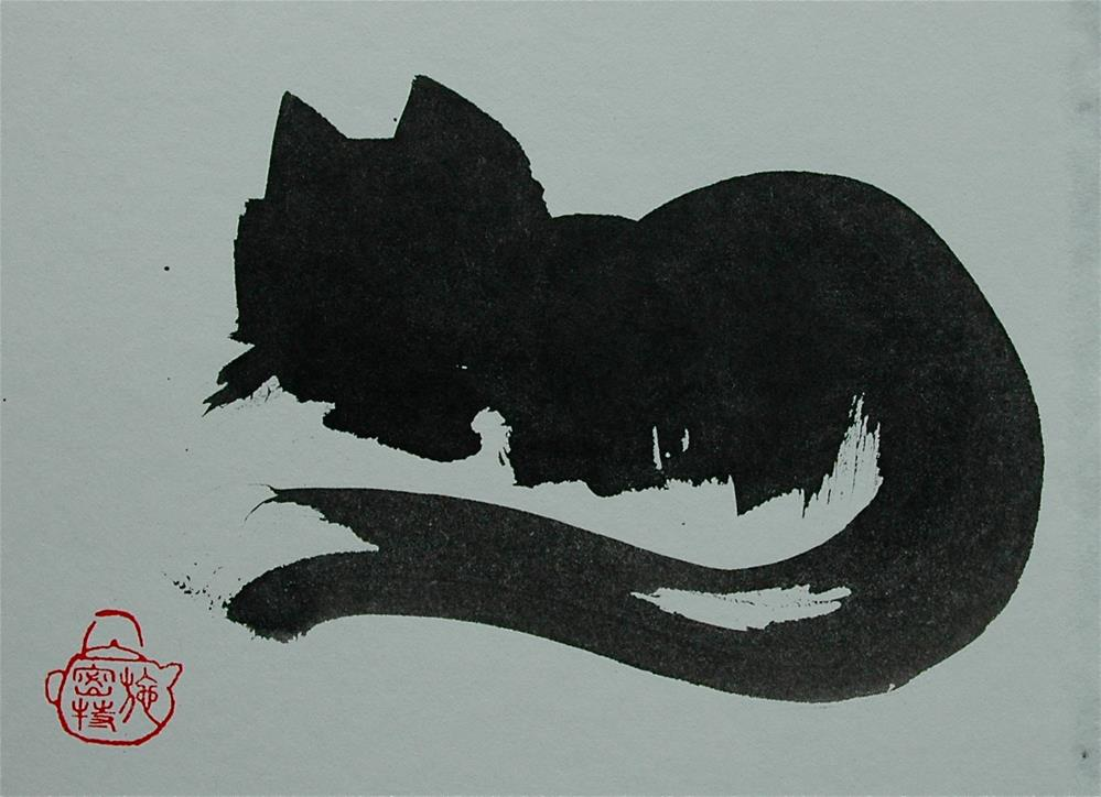 """Cat, who has be patient"" original fine art by Ulrike Schmidt"