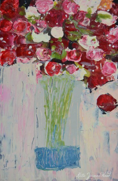 """""""Red cottage chic roses floral painting No 192"""" original fine art by Katie Jeanne Wood"""