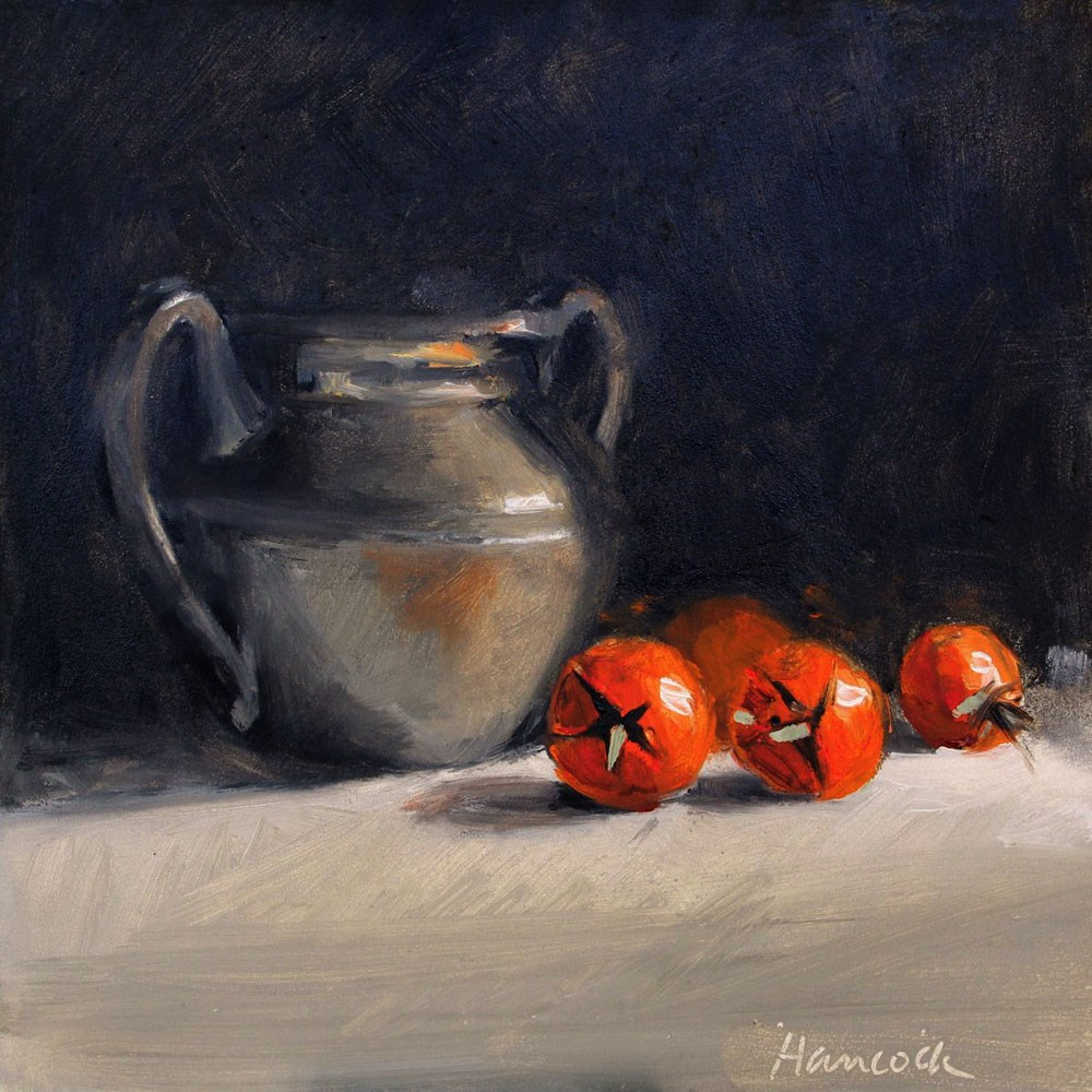 """Pewter Jug and Four Cherry Tomatoes"" original fine art by Gretchen Hancock"
