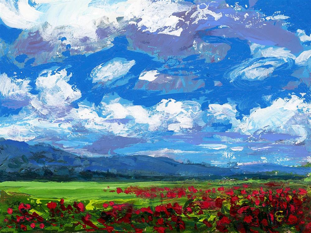 """""""Red Poppys in Tennessee"""" original fine art by Chris Ousley"""