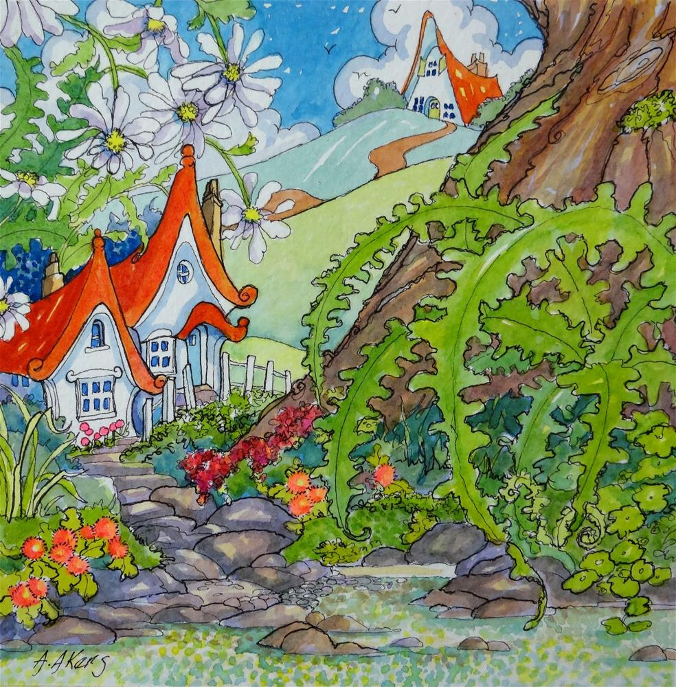 """Fairy Houses Down by the Brook Storybook Cottage Series"" original fine art by Alida Akers"