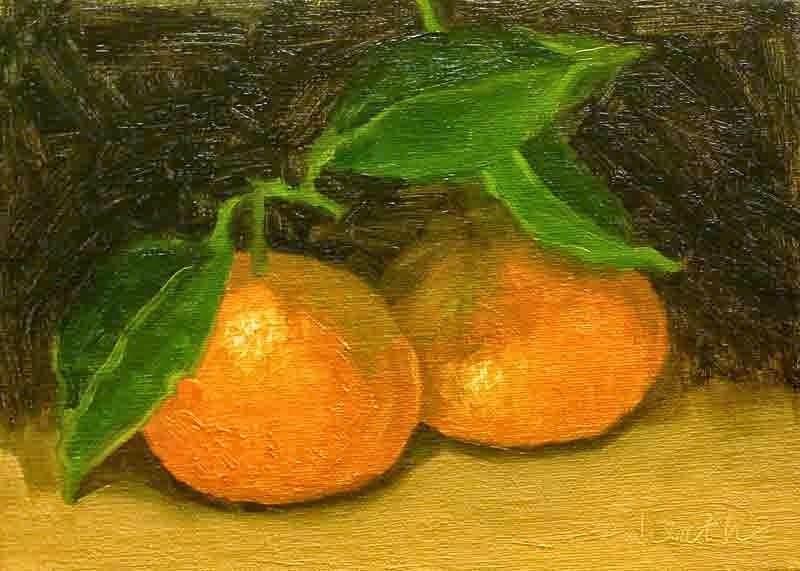 """Double Mandarins"" original fine art by Bobbi Heath"