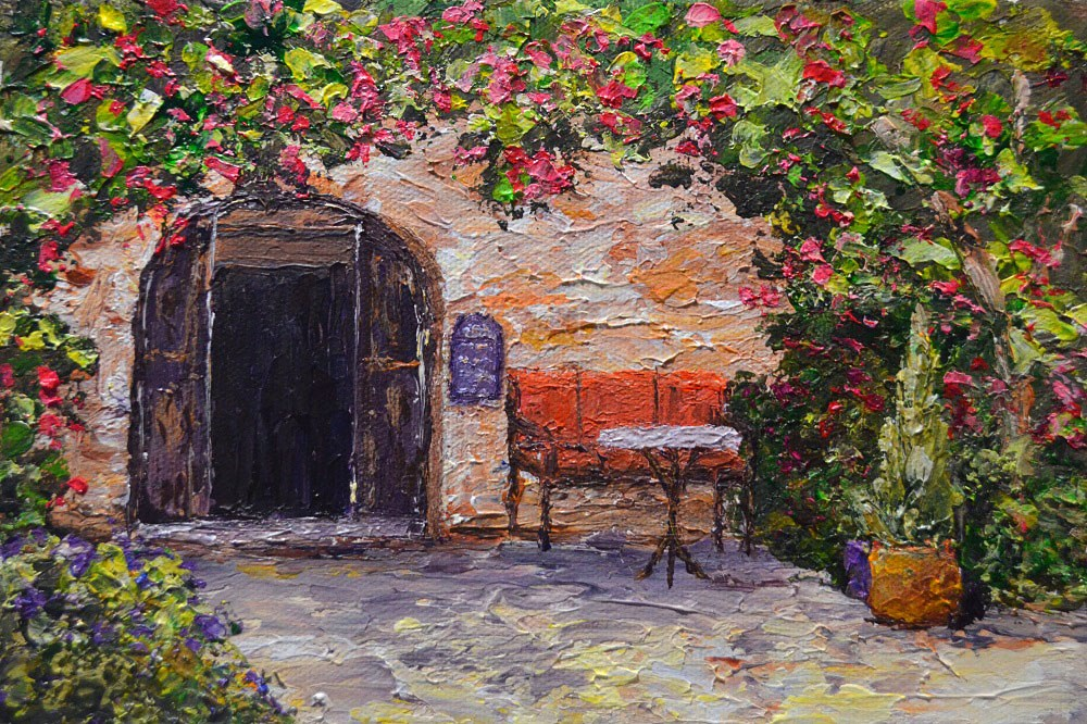 """Cafe Di Rhodes"" original fine art by Gloria Ester"