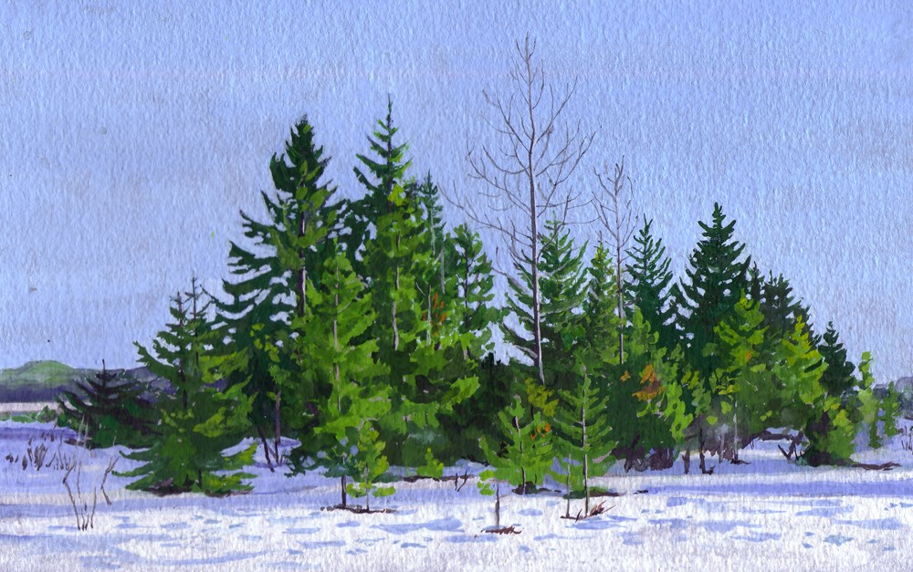 """Winter between the Rivers"" original fine art by Carole Baker"