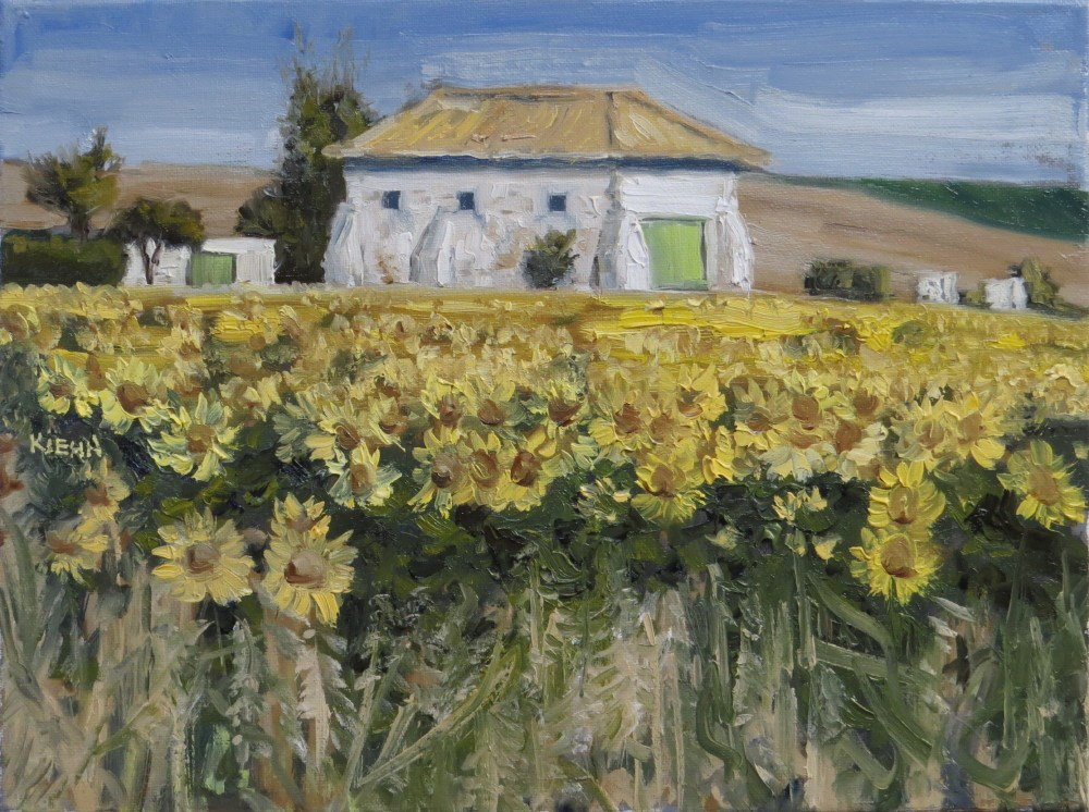 """Spanish Farm with Sunflowers"" original fine art by Richard Kiehn"