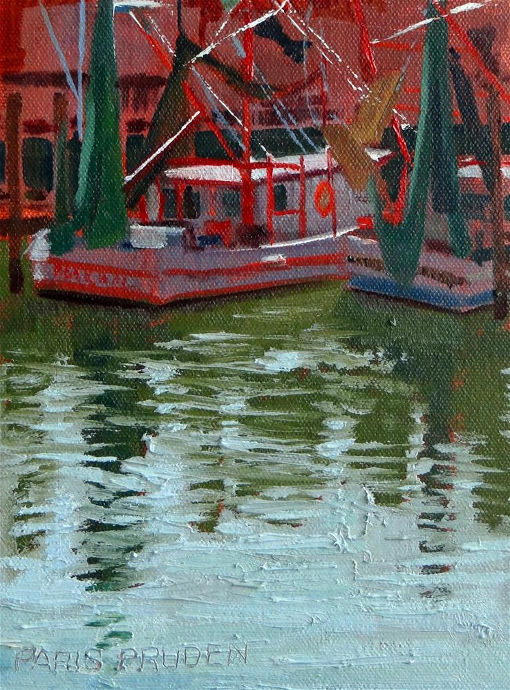 """Dock at Joe's Crab Shack"" original fine art by Nancy Paris Pruden"
