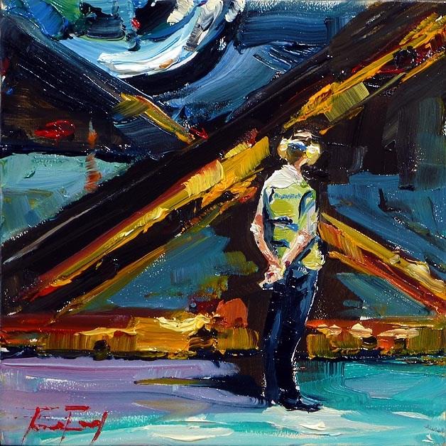 """airport staff"" original fine art by Jurij Frey"