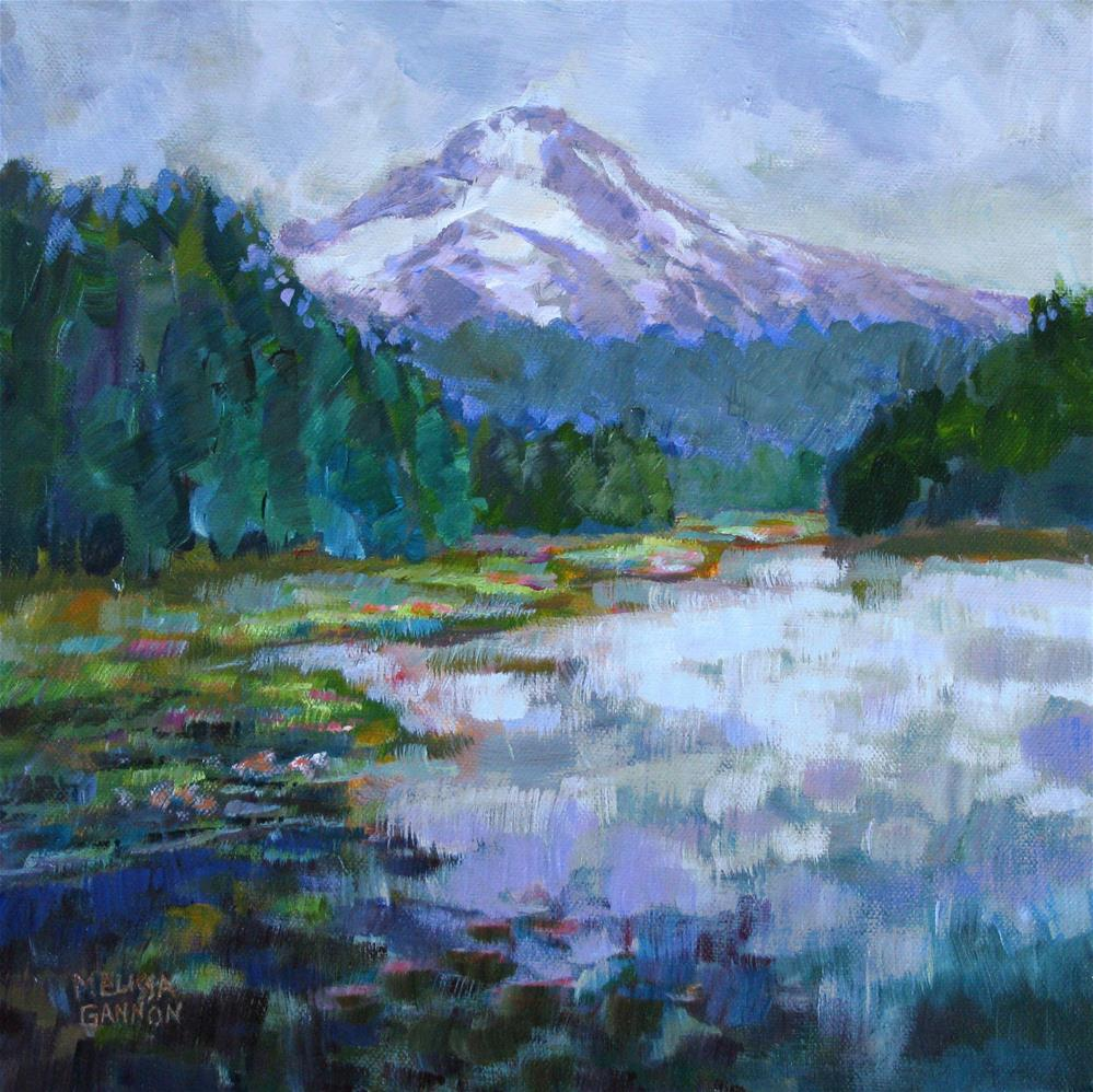 """Mt. Hood from Trilliam Lake"" original fine art by Melissa Gannon"