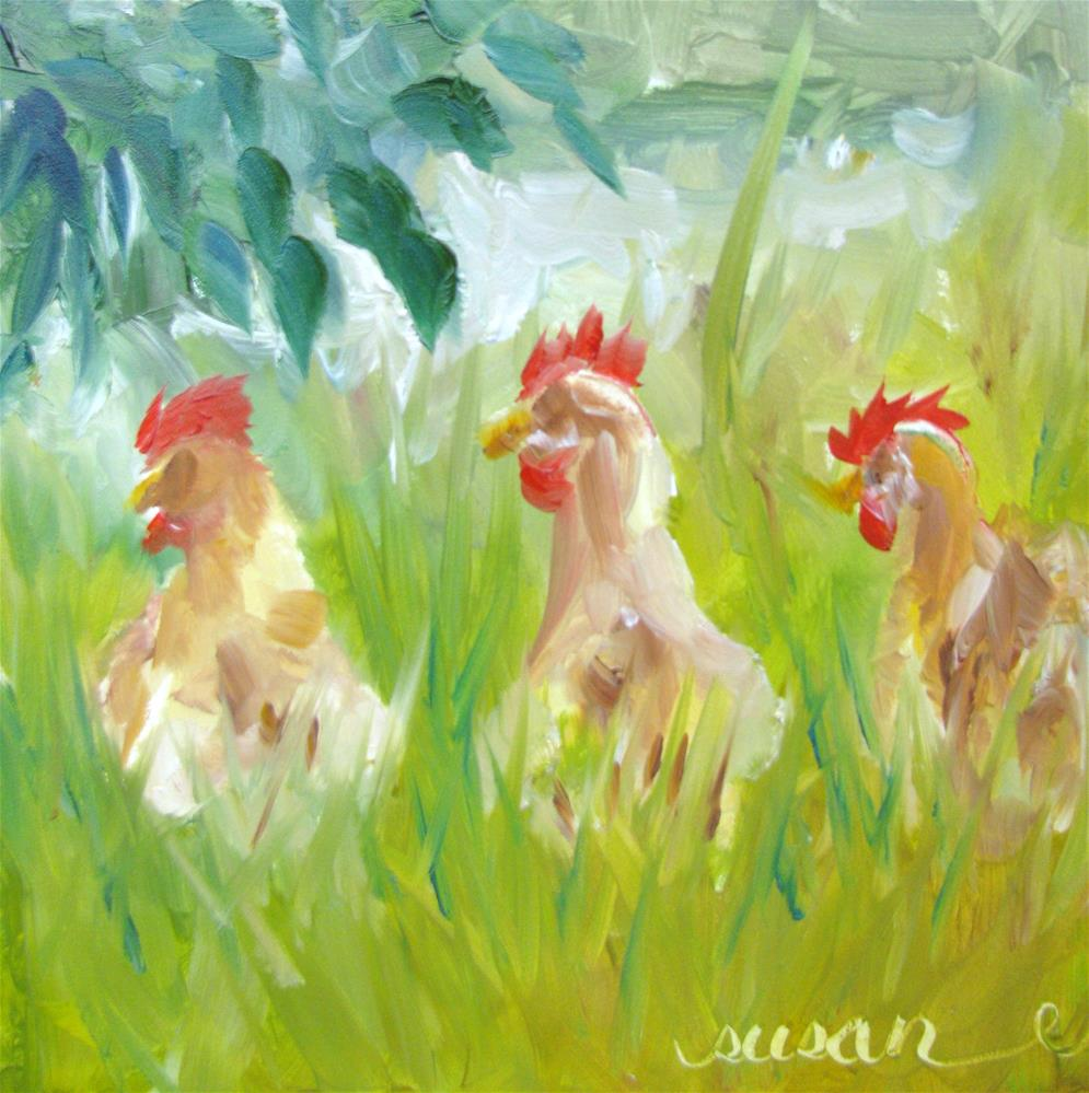 """Three French Hens"" original fine art by Susan Elizabeth Jones"