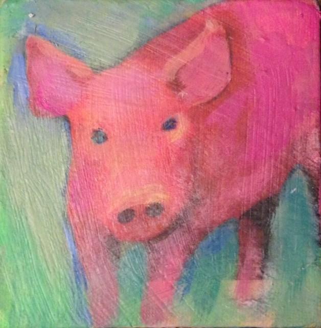 """Pink Piggy"" original fine art by barbara quast"