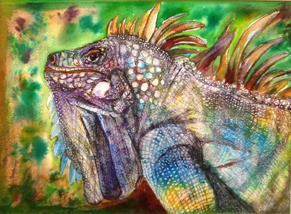 """""""9x12 Iguana Lizard Reptile Scales Colorful Mixed Media Painting Penny StewArt"""" original fine art by Penny Lee StewArt"""
