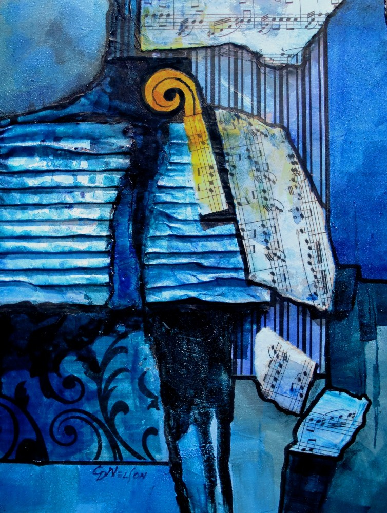 """BLUE NOTES"" 12052, mixed media abstract musical collage © Carol Nelson Fine Art original fine art by Carol Nelson"