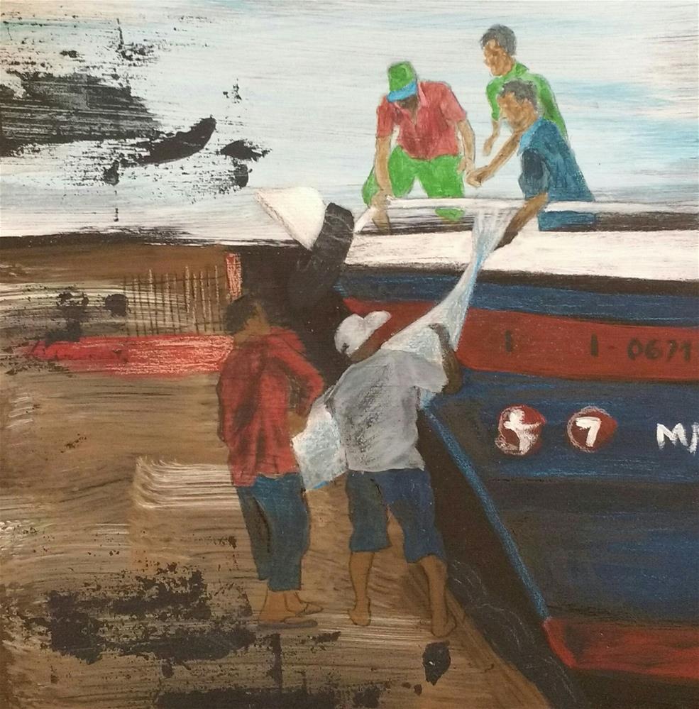 """""""a big catch"""" original fine art by Sandra Woerner"""