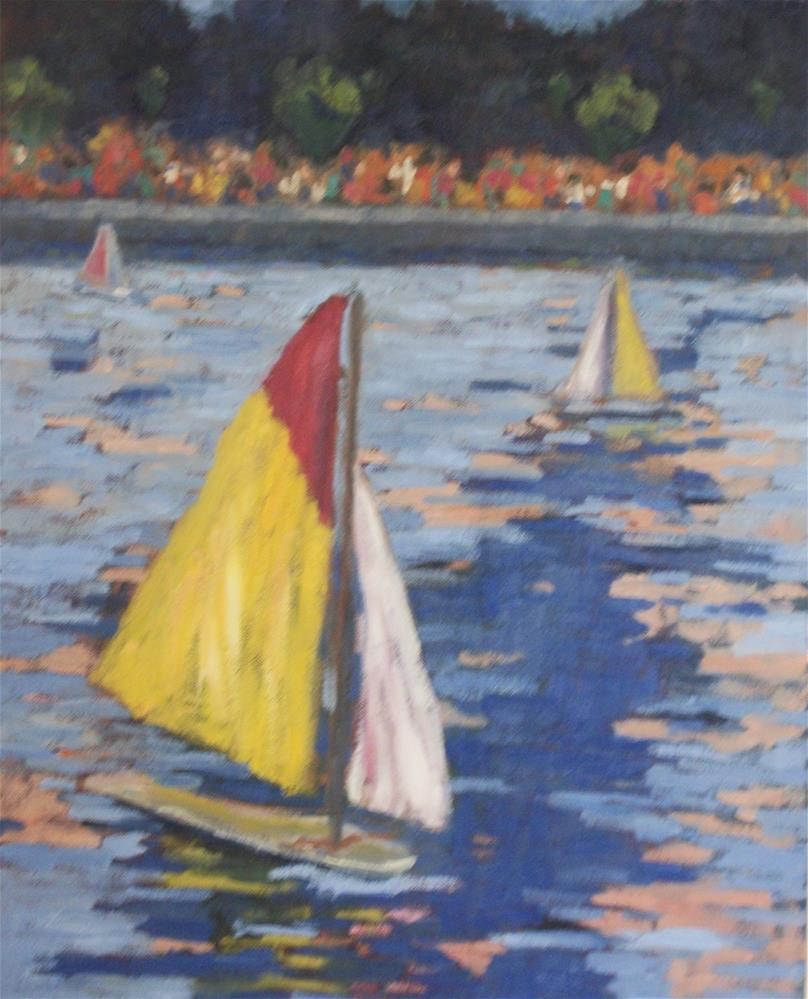 """""""Sailing Boats at Luxembourg Gardens"""" original fine art by Katharine March"""
